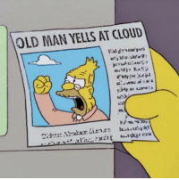 Old Man, Twitter, and Cloud: OLD MAN YELLS AT CLOUD President Trump threatens Iran via an all-caps tirade on Twitter (2018, colorized).