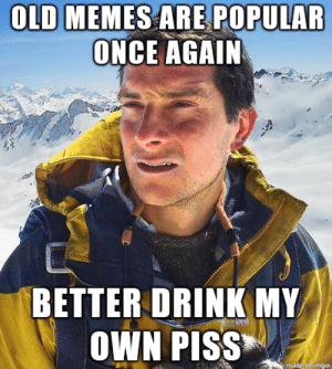 Bear Grylls' thoughts on old memes: OLD MEMES ARE POPULAR  ONCE AGAIN  BETTER DRINK MY  OWN PISS  made on imgur Bear Grylls' thoughts on old memes