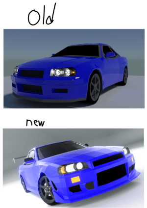 Cars, Nissan, and Today: Old  new I'm a 3D artist specialized in cars, and I've been making them since I was 12, 3 years ago. I made this car, a 1999 Nissan Skyline GTR, a year ago, and then one, with a C-West bodykit, finished today.