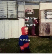 Old People: old people  with  coupon:s  cashiers