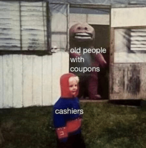 Old People, Old, and People: old people  with  coupons  cashiers