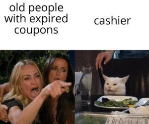 Take it!: old people  with expired  cashier  Coupons Take it!