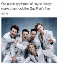 Never forget: Old publicity photos of nsync always  make them look like Guy Fieri's five  SOns Never forget