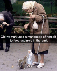 9gag, Memes, and Old Woman: Old woman uses a marionette of herself  to feed squirrels in the park This is the next level of feeding. Follow @9gag for more interesting memes. 9gag feeding squirrel hobby