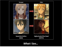 Oh Gawd -Red: Older  Younger  Kirito  Sword Art Online  Highschool of the Dead  (SAO)  (HOTD)  What See... Oh Gawd -Red
