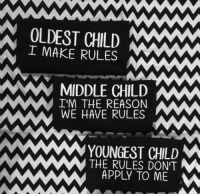 <p>I'm The Middle Child</p>: OLDEST CHILD  IMAKE RULES  MIDDLE CHILDW  IM THE REASON  WE HAVE RULES  YOUNGEST CHLD  THE RULES DON'T  APPLY TO ME <p>I'm The Middle Child</p>
