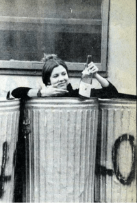 Carrie Fisher, Trash, and Tumblr: oldschoolcelebrities: Carrie Fisher in the trash with a bottle of wine, 1977