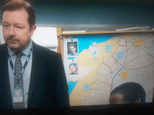 "British, Drama, and Map: OLEA ITV production of the British drama ""The Bay"". Was this a subliminal joke by the set director? Check out the map!"