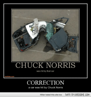 correctionhttp://omg-humor.tumblr.com: OLICE  CHUCK NORRIS  was hit by that car  motifake.com  CORRECTION  a car was hit by Chuck Norris  TASTE OF AWESOME.COM  Hitler hated this site too correctionhttp://omg-humor.tumblr.com