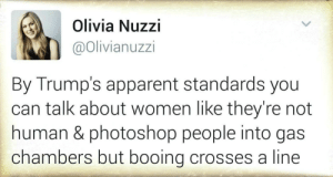 Photoshop, Women, and Human: Olivia Nuzzi  @Olivianuzzi  By Trump's apparent standards you  can talk about women like they're not  human & photoshop people into gas  chambers but booing crosses a line