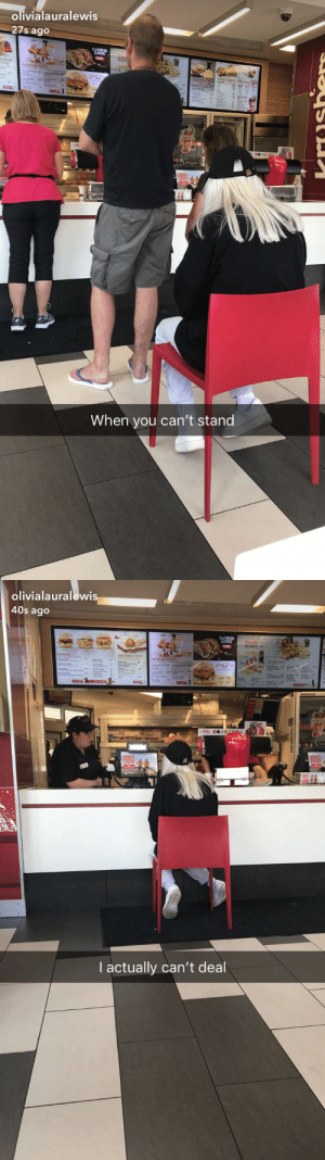Kfc, Tumblr, and Blog: olivialauralewis  27s ago  FLATEREAD  CocaCola  When you can't stand   olivialauralewis  40s ago  SUDEDS  BUCKET  SUCHET ALS  MEAL O  I actually can't deal c3po:  daneathestoner:   nicejewishguy:   c3po: sometimes u just can't stand in kfc fight the man   Idk the story on this but remember invisible illnesses exist! Some people may look okay on the outside, but are actually in a lot of pain!   yea i was actually just really hungover