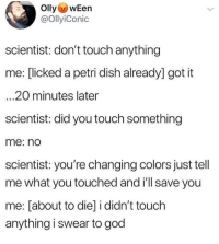 God, Ironic, and Lol: OllywEen  @OllyiConic  scientist: don't touch anything  me: [licked a petri dish already] got it  ...20 minutes later  scientist: did you touch something  me: no  scientist: you're changing colors just tell  me what you touched and i'll save you  me: [about to die] i didn't touch  anything i swear to god Scouts honor ✋🏻🤢🤞🏻 lol