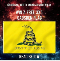 gadsdengiveaway I support gun rights because gun ownership and self defense is an essential part of maintaining a healthy balance of citizen control over the government. Why is this needed? Government simply can not be trusted. Thomas Paine said that the duty of a patriot isn't too protect the gov't, but to protect his people from his government. Thomas Jefferson wished that this continent not go twenty years without a rebellion or revolution of some kind in order to empower the people and maintain citizen control. Gun ownership and private militias, according to the bill of rights, are essential to the maintenance of peace and liberty.: OLOGICALLIBERTY #GADSDENGIVEAWAY  WIN A FREE 3X5  GADSDEN FLAG  DON'T TREAD ON ME  READ BELOW gadsdengiveaway I support gun rights because gun ownership and self defense is an essential part of maintaining a healthy balance of citizen control over the government. Why is this needed? Government simply can not be trusted. Thomas Paine said that the duty of a patriot isn't too protect the gov't, but to protect his people from his government. Thomas Jefferson wished that this continent not go twenty years without a rebellion or revolution of some kind in order to empower the people and maintain citizen control. Gun ownership and private militias, according to the bill of rights, are essential to the maintenance of peace and liberty.