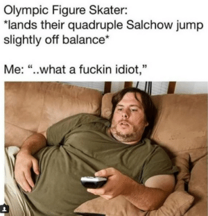 "What an idiot by AssassinAgent FOLLOW 4 MORE MEMES.: Olympic Figure Skater:  ""lands their quadruple Salchow jump  slightly off balance*  Me: ""..what a fuckin idiot,"" What an idiot by AssassinAgent FOLLOW 4 MORE MEMES."