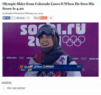 4:20: Olympic Skier from Colorado Loses It When He Sees His  Score Is 4.20  by Brandon Wenerd on February 20, 2014  Like  5.5k Tweet 110  2014  SOCHI 2  12  US YMAN CURRIER  RUN 1 420  unsolve  the real winner