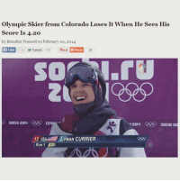 olympic: Olympic Skier from Colorado Loses It When He Sees His  Score Is 4.20  by Brandon Wenerd on February 20, 2014  55k Tweet 110  Pinu  Like  socHI 20N QSRSO  COLHW  2014  SOCHI 2  12 USA  MAN CURRIER  IRUN 1 O20