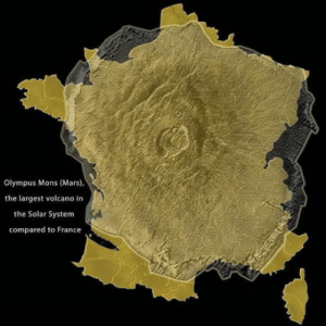 THAT big?: Olympus Mons (Mars),  the largest volcano in  the Solar System  compared to France THAT big?