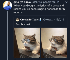 After looking up lyrics for Young Thug- Digits and Big L - Ebonics: omọ iya oluko. @oluwa_paparazzi · 1d  When you Google the lyrics of a song and  realize you've been singing nonsense for 6  months.  @Kulp... · 12/7/19  Crocodile Tears  Bomboclaat After looking up lyrics for Young Thug- Digits and Big L - Ebonics