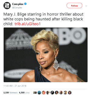 gahdamnpunk:I'm ALL EARS: OM Com plex  PLEX  Follow  @Complex  Mary J. Blige starring in horror thriller about  white cops being haunted after killing black  child: trib.al/uGlteo1  11:00 AM 21 Jun 2018  2,330 Retweets 6,585 Likes0O3 gahdamnpunk:I'm ALL EARS