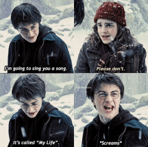 """How the fuck are Harry Potter memes still in existence: Om going to sing you a song.  Please don't.  Stytherdors  It's called """"My Life""""  Screams How the fuck are Harry Potter memes still in existence"""