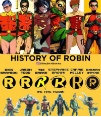 Who is your favorite Robin?: OM  HISTORY OF ROBIN  OTHEBAT BRAND  DICK JASON  TIM STEPHANIE CARRIE DAMIAN  GRAYSON TODD DRAKE  BROWN  KELLEY WAYNE  WE ARE ROBIN Who is your favorite Robin?