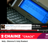 """Nelly, Wat, and Kelly Rowland: Omar Saleemwar sa  VO Now VEVO  @3:16 is she using an excel spreadsheet to text?  Reply 4  VORITE ARTISTS  D 3:16/4:43  2 CHAINZ """"CRACK""""  WAT  Nelly Dilemma ft. Kelly Rowland"""