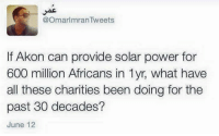 Strong words.: @OmarlmranTweets  If Akon can provide solar power for  600 million Africans in lyr, what have  all these charities been doing for the  past 30 decades?  June 12 Strong words.