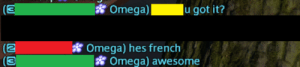 Happy, Omega, and Awesome: omega)-  u got it?  (3  (2  3  Omega) hes french  宿Omega) awesome Rare picture of being happy for having a Moogle player