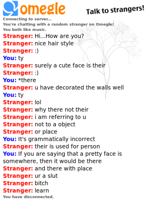 Bitch, Cute, and Lol: omegle  Talk to strangers!  Connecting to server...  You're chatting with a random stranger on Omegle!  You both like music.  Stranger: Hi...How are you?  Stranger: nice hair style  Stranger: :)  You: ty  Stranger: surely a cute face is their  Stranger: :)  You: *there  Stranger: u have decorated the walls well  You: ty  Stranger: lol  Stranger: why there not their  Stranger: i am referring to u  Stranger: not to a object  Stranger: or place  You: It's grammatically incorrect  Stranger: their is used for person  You: If you are saying that a pretty face is  somewhere, then it would be there  Stranger: and there with place  Stranger: ur a slut  Stranger: bitch  Stranger: learn  You have disconnected. Tried to correct a guys grammar on Omegle. The response...