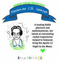 This week's WCW is the talented katherinejohnson played by the talented @tarajiphenson in HiddenFigures! WOC WomeninSTEM: OMEN CRUSH WEDNESDAY  Katherine Ca  Johnson  A leading NASA  physicist and  mathematician, her  talent at calculating  rocket trajectories  j helped to famously  bring the Apollo 11  flight to the Moon.  A sap s CIEN This week's WCW is the talented katherinejohnson played by the talented @tarajiphenson in HiddenFigures! WOC WomeninSTEM