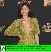 "Anaconda, Disney, and Memes: OMER  ZENDAYA SAYS HER SPIDER-MAN CHARACTER IS  100 PERCENT"" MICHELLE, NOT MARY JANE  NEWS For the most part Zendaya's character in the anticipated superhero flick Spider-Man: Homecoming has been kept under wraps. We've seen glimpses of her in the trailers but nothing substantial, which has led to rampant reports and rumors that Zendaya's character ""Michelle"" was actually just a cover for someone slightly more iconic: Mary Jane Watson. _ But the former Disney Channel star tells MTV News that her Spider-Man character is ""100 percent Michelle"" — and not Mary Jane. ""My character is 100 percent Michelle,"" she told MTV News correspondents Gaby Wilson and Josh Horowitz at the 2017 MTV Movie & TV Awards. ""That's her name. I promise you I'm not lying."" _ Zendaya went on to describe Michelle as ""weird and interesting and cool,"" a character who ""says weird things at the wrong times."" Her dry and awkward sense of humor is exactly why the actress thinks people will like Michelle as a character. ""She's like my spirit animal,"" she said. ""[She's] how I feel on the inside."" _ by Crystal Bell"