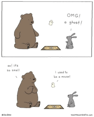 A tiny scare via /r/wholesomememes https://ift.tt/2P9pRH4: OMG!  a ghost!  aw! it's  So small  used to  be a mouse!  liz climo  thelittleworld ofliz.com A tiny scare via /r/wholesomememes https://ift.tt/2P9pRH4