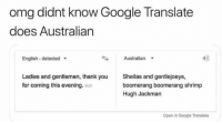 Australian: omg didnt know Google Translate  does Australian  English-detected  Australian  40  Ladies and gentlemen, thank you  for coming this evening. Edit  Sheilas and gentlejoeys,  boomerang boomerang shrimp  Hugh Jackman  Open in Google Translate