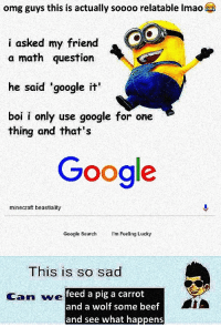 Beef, Google, and Minecraft: omg guys this is actually soooo relatable Imao  i asked my friend  a math question  he said 'google it  boi i only use google for one  thing and that's  Google  minecraft beastiality  Google SearchI'm Feeling Lucky  This is so sad  Can we  feed a pig a carrot  and a wolf some beef  and see what happens