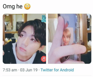 Android, Love, and Omg: Omg he  VLIVE  7:53 am 03 Jun 19 Twitter for Android #JUNGKOOK 🐾 his love for Namjoon I cant-