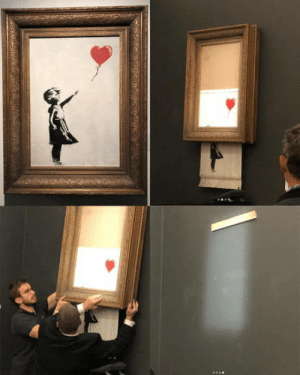 omg-humor:Painting of Banksy destroyed itself after being auctioned for over one millions pounds.: omg-humor:Painting of Banksy destroyed itself after being auctioned for over one millions pounds.