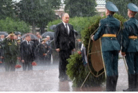 Omg, Tumblr, and Blog: omg-humor:Putin braves rain to honour WWII victims (2017.)