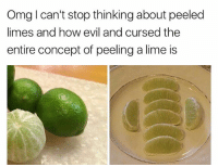 Memes, Omg, and Wtf: Omg I can't stop thinking about peeled  limes and how eil and cursed the  entire concept of peeling a lime is Ew wtf is this? 😐 fixitjesus