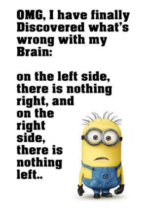 Omg, Tumblr, and Brain: OMG, I have finally  Discovered what's  wrong with my  Brain:  on the left side,  there is nothing  right, and  on the  right  side,  there is  nothing  left.. If you are a student Follow @studentlifeproblems