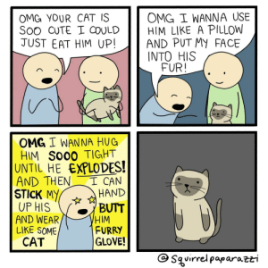 Wildly inappropriate [OC]: OMG I WANNA USE  OMG YOUR CAT IS  Soo CUTE I COULDHIM LIKE A PILLOWW  JUST EAT HIM UP!AND PUT MY FACE  INTO HIS  FUR!  OMG I WANNA HUG  HIM So00 TIGHT  UNTIL HE EXPLODES!  AND THENCAN  STICK MY ☆ HAND  UP HIS BUTT  AND WEAR  LIKE SOME  HIM  FURRY  GLOVE!  CAT  G Sguirrelpaparazti Wildly inappropriate [OC]