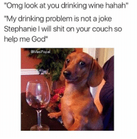 "Wine, amarite?: Omg look at you drinking wine hahah""  ""My drinking problem is not a joke  Stephanie I will shit on your couch so  help me God""  @MasiPopal Wine, amarite?"