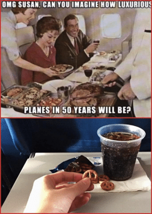 Dunno what to say: OMG SUSAN, CAN YOU IMAGINE HOw LUXURIOUS  PLANES IN 50 YEARS WILL BE? Dunno what to say