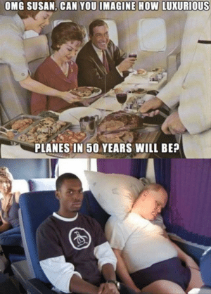 Ah flying… by Unhooked- FOLLOW 4 MORE MEMES.: OMG SUSAN, CAN YOU IMAGINE HOW LUXURIOUS  PLANES IN 50 YEARS WILL BE? Ah flying… by Unhooked- FOLLOW 4 MORE MEMES.