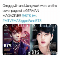 #BTS 🐾 Kings: Omggg Jin and Jungkook were on the  cover page of a GERMAN  MAGAZINE!! @BTS_twt  #MTVEMABiggesFansBTS  KOREAN  CULTURE  MAGAZINE  KOREAN  CULTURE  MAGAZINE  VOL 13  PLUS 8  POSTER  PL AKLIST  ACKPINK 24  OB ABOUMPOSTER  TRAIN TO BUSAN  Zombie Apokalyps  MONSTA X EX  PLUS 8  made in Korea  LIVE ON STAGE  Das historische Jahr der  K-Pop-Superkonzerte  LAYLIST  HIGG SHINEE  ENTAGON ZICO  HYOLYN ASTRO  SUPER JUNIOR  Comeback der  Bangtan Boys  VERBOTENE LIEBE  JEJULOVELAND  ,-)  zum großen Skandal  Eine emotionale Botschaft #BTS 🐾 Kings