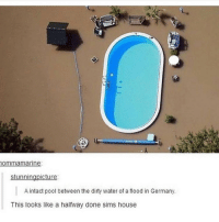 i thought itwas the sims danndhsuus: ommamarine  stunningpicture  A intact pool between the dirty water of a flood in Germany.  This looks like a halfway done sims house i thought itwas the sims danndhsuus
