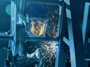 """On """"The Expanse,"""" when characters are welding in zero-gee, the sparks fly evenly in all directions instead of arcing down.: On """"The Expanse,"""" when characters are welding in zero-gee, the sparks fly evenly in all directions instead of arcing down."""