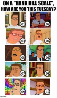 """10: ON A' HANK HILL, SCALE"""",  HOW ARE YOU THIS TUESDAY?  03  04  05  06  07  08  09  10 10"""