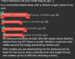On a post about a woman with Hitachi Magic Wand, earrings: On a post about a woman with Hitachi Magic Wand, earrings