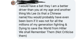 On a post about how senior citizens should have to retake the driving test. This guy graduated high school in 1956. Not sure why he thinks he fought in world war 2: On a post about how senior citizens should have to retake the driving test. This guy graduated high school in 1956. Not sure why he thinks he fought in world war 2