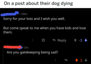 Sorry, Kids, and Sad: On a post about their dog dying  58m  Sorry for your loss and I wish you well.  But come speak to me when you have kids and lose  them.  Reply  -1  3m  Are you gatekeeping being sad?